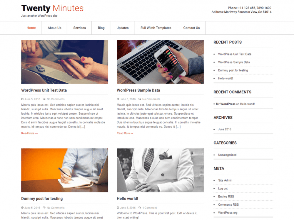 Free Twenty Minutes WordPress theme