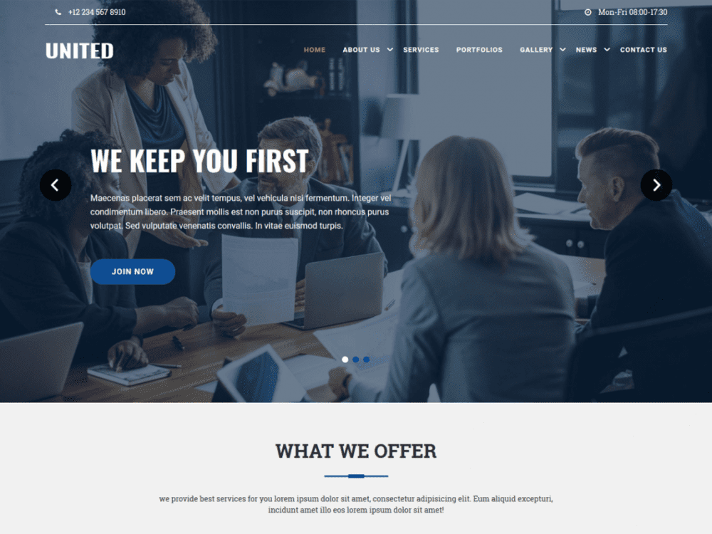 Free United Lite WordPress theme