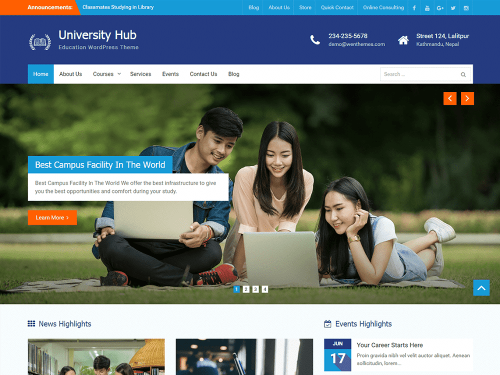 Free University Hub WordPress theme