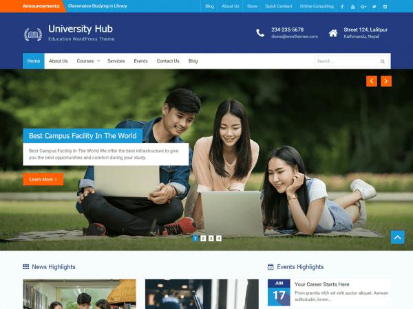 Free University Hub WordPress theme