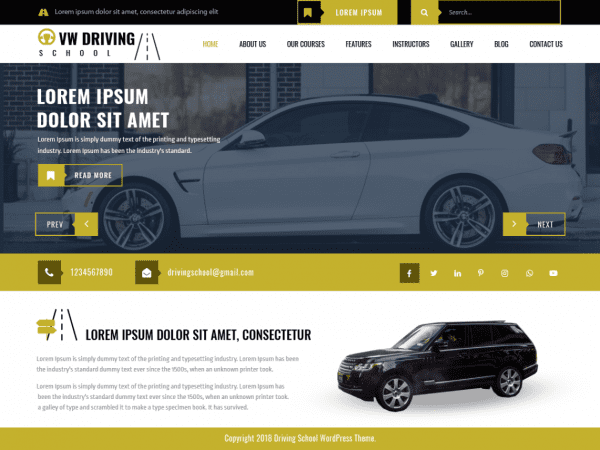 Free VW Driving School WordPress theme