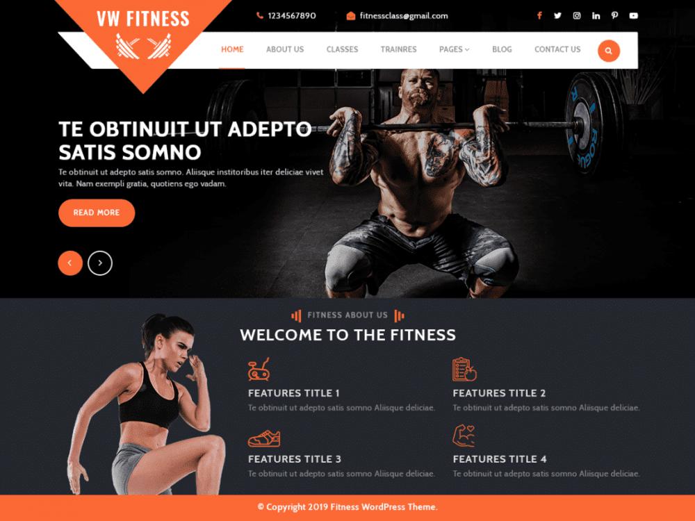 Free VW Fitness Gym WordPress theme