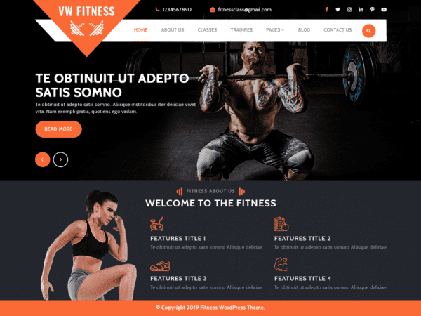Free VW Fitness Gym WordPress theme