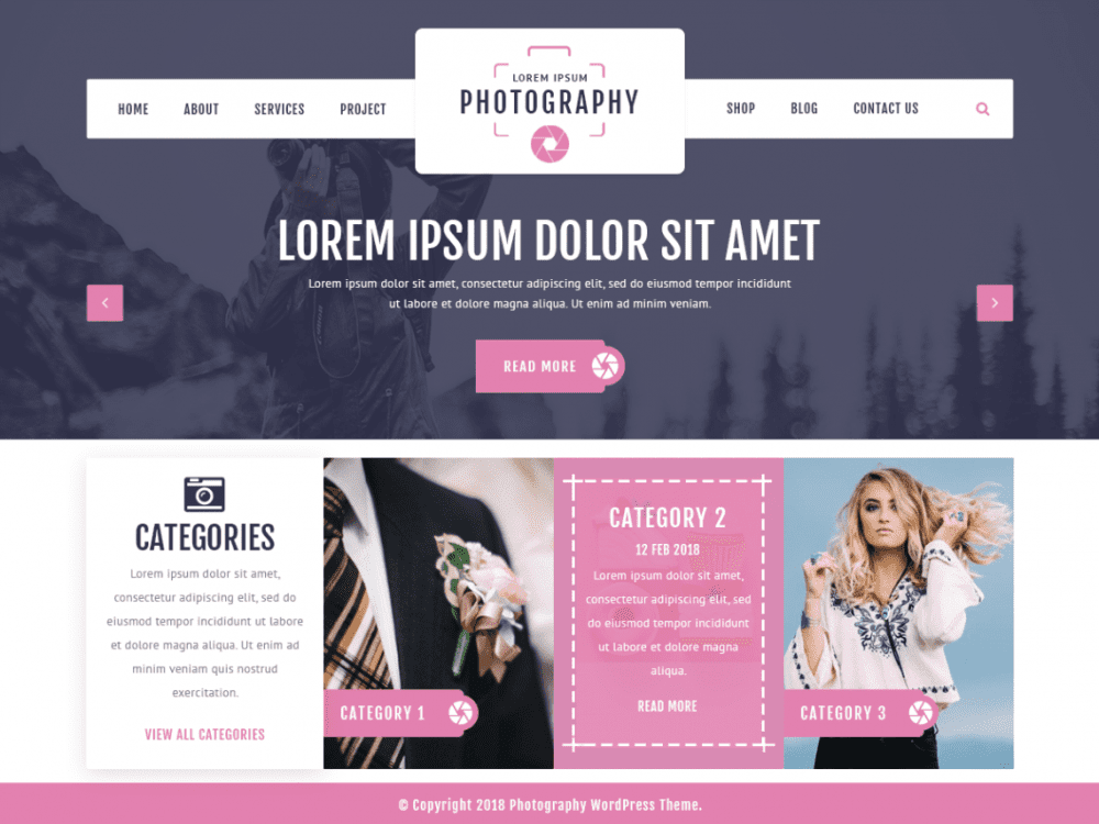 Free VW Photography WordPress theme
