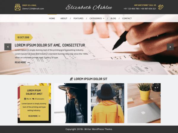 Free VW Writer Blog WordPress theme