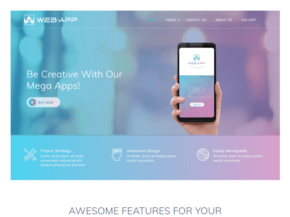 Free Web App WordPress theme