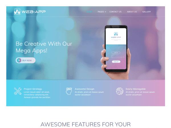 Free Web App WordPress theme