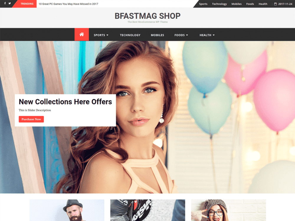 Free bFastMag Shop WordPress theme