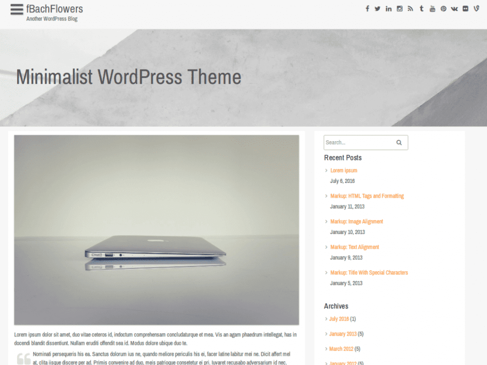 Free fBachFlowers WordPress theme
