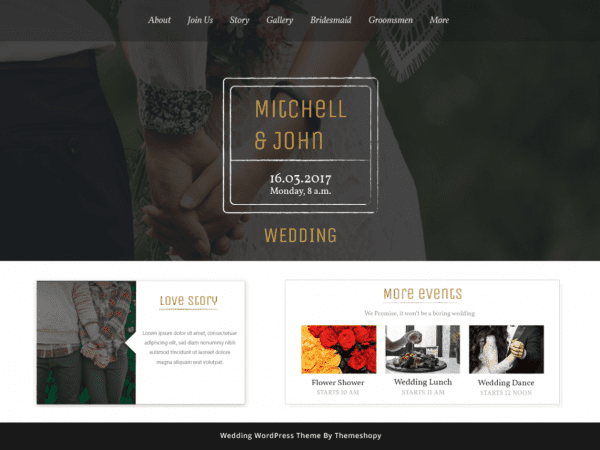 FreeBB Wedding Bliss WordPress theme