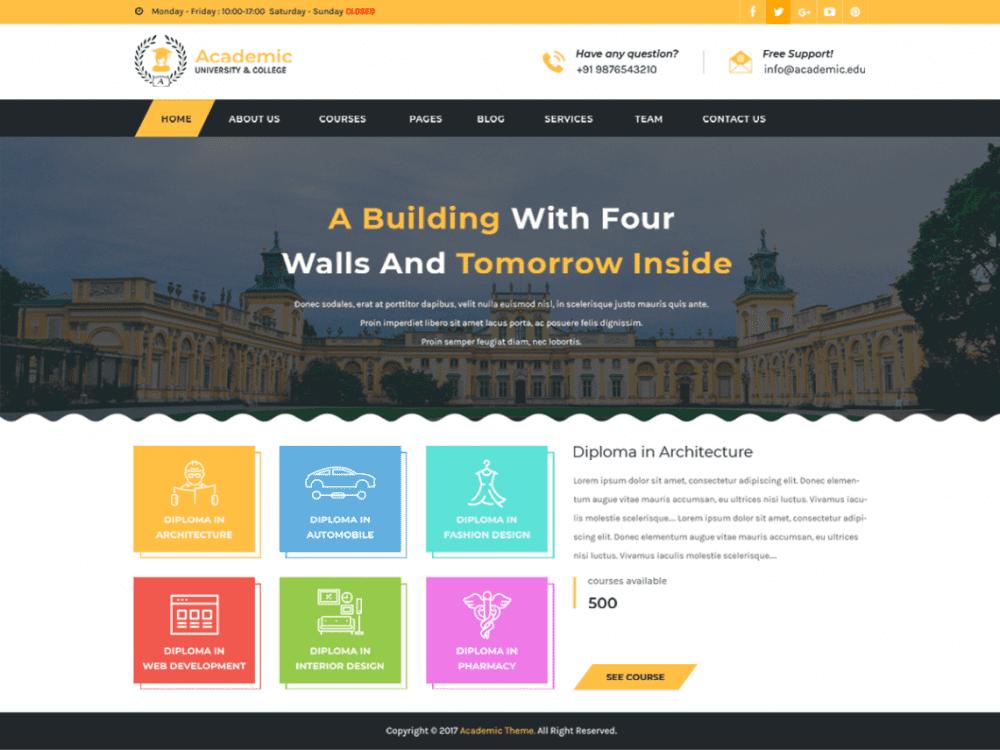 Free Academic Education WordPress theme