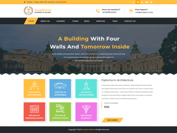Free Academic Education WordPress theme