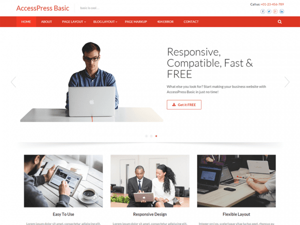 Free Accesspress Basic WordPress theme
