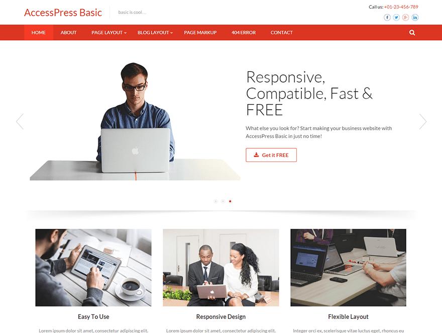 Free Accesspress Basic WordPress theme