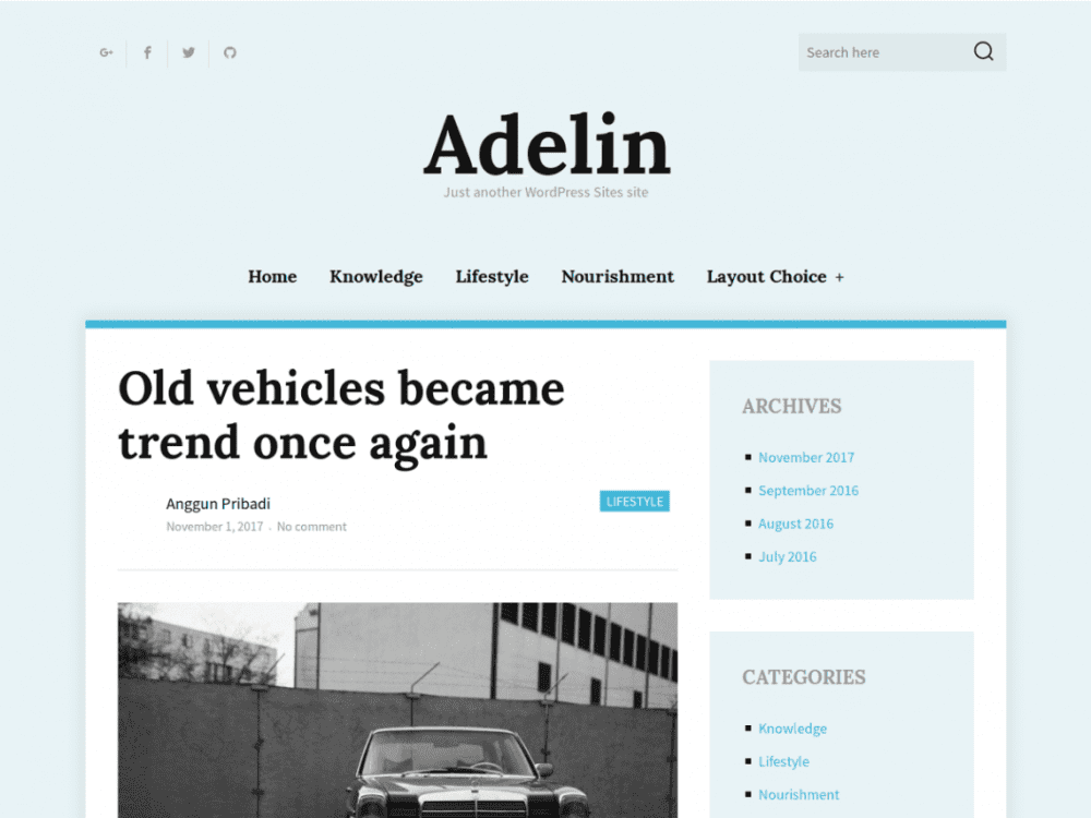 Free Adelin WordPress theme