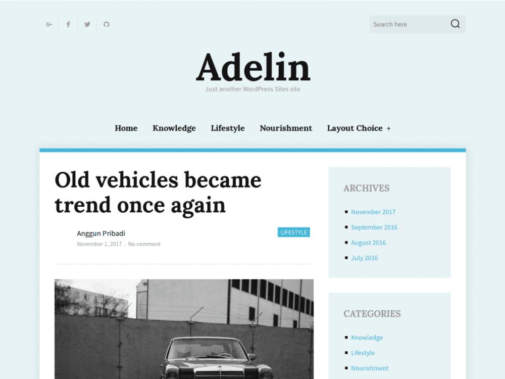 Free Adelin WordPress theme