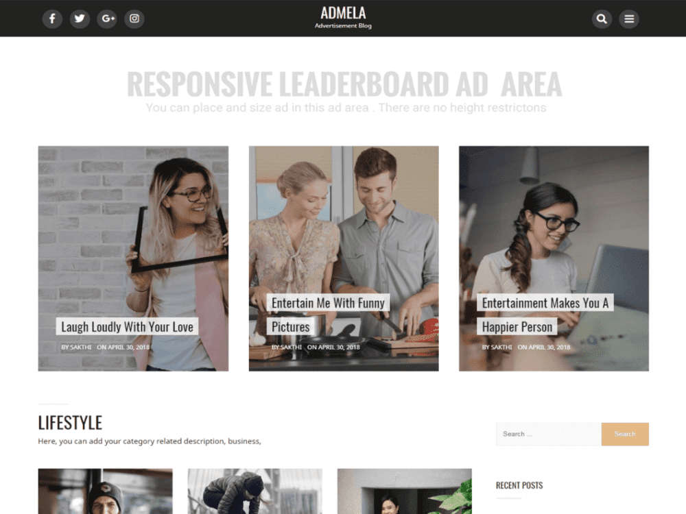 Free Admela WordPress theme