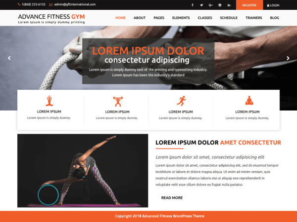 Free Advance Fitness Gym WordPress theme
