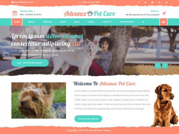 Free Advance Pet Care WordPress theme
