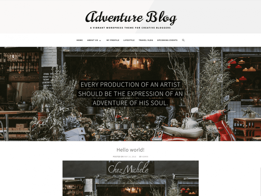 Free Adventure Blog WordPress theme