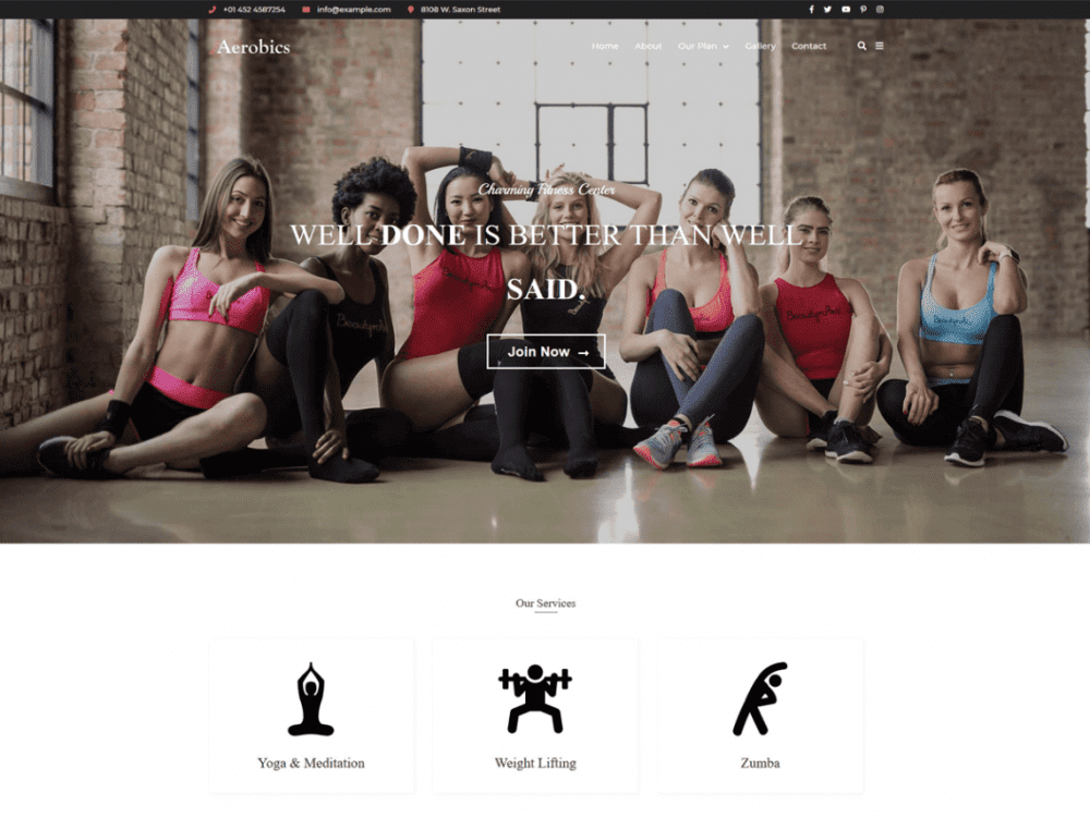 Free Aerobics WordPress theme