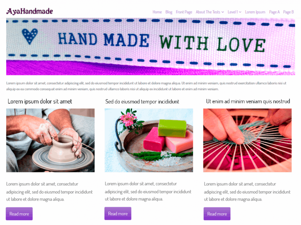Free AyaHandmade WordPress theme