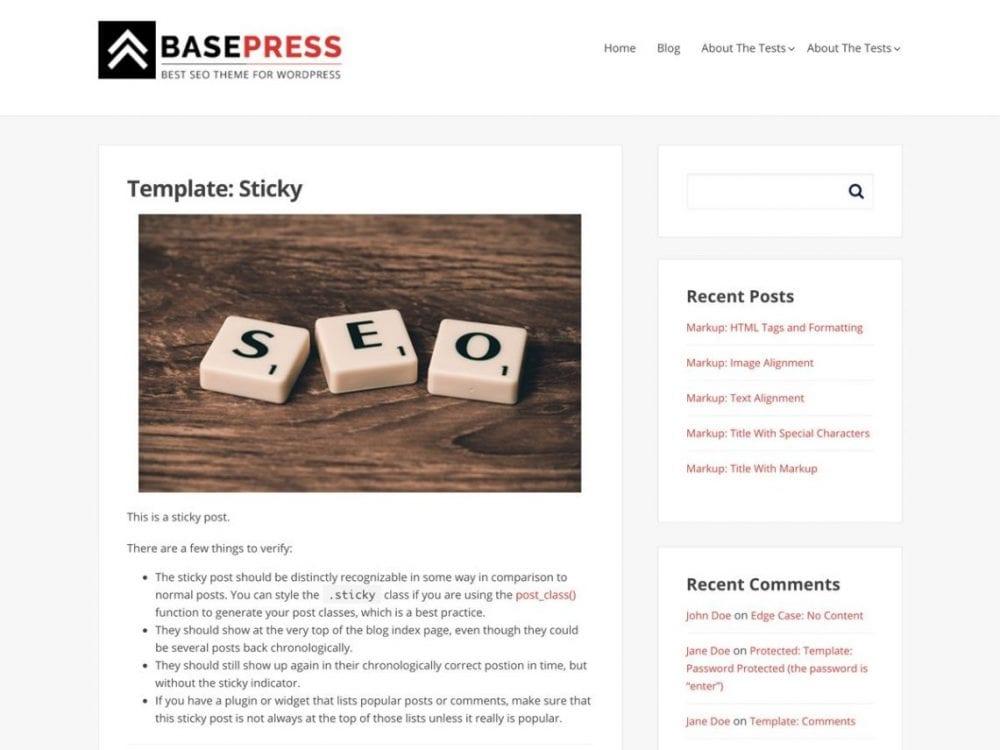 Free BasePress WordPress theme
