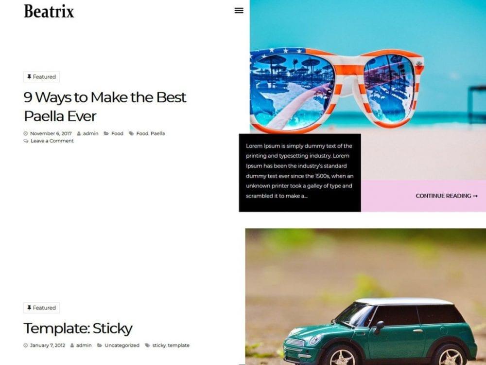 Free Beatrix Lite WordPress theme