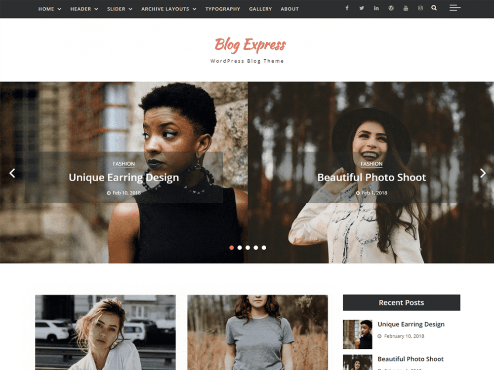 Free Blog Express WordPress theme
