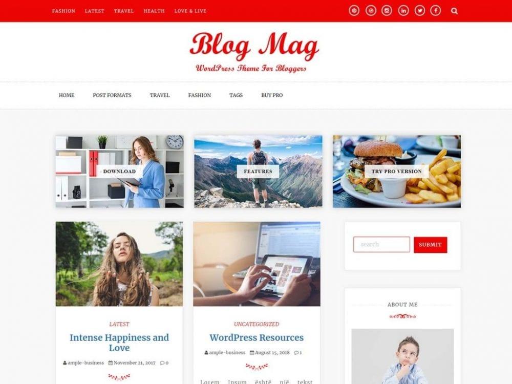 Free Blog Mag WordPress theme