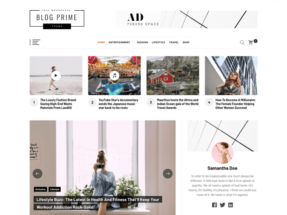 Free Blog Prime WordPress theme