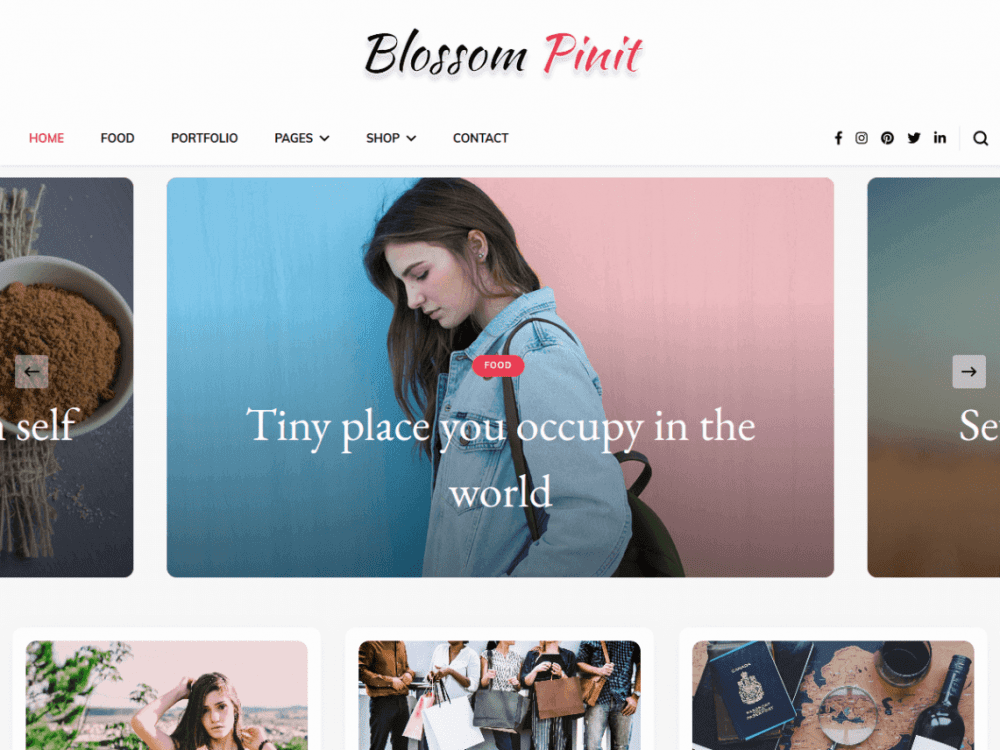 Free Blossom Pinit WordPress theme