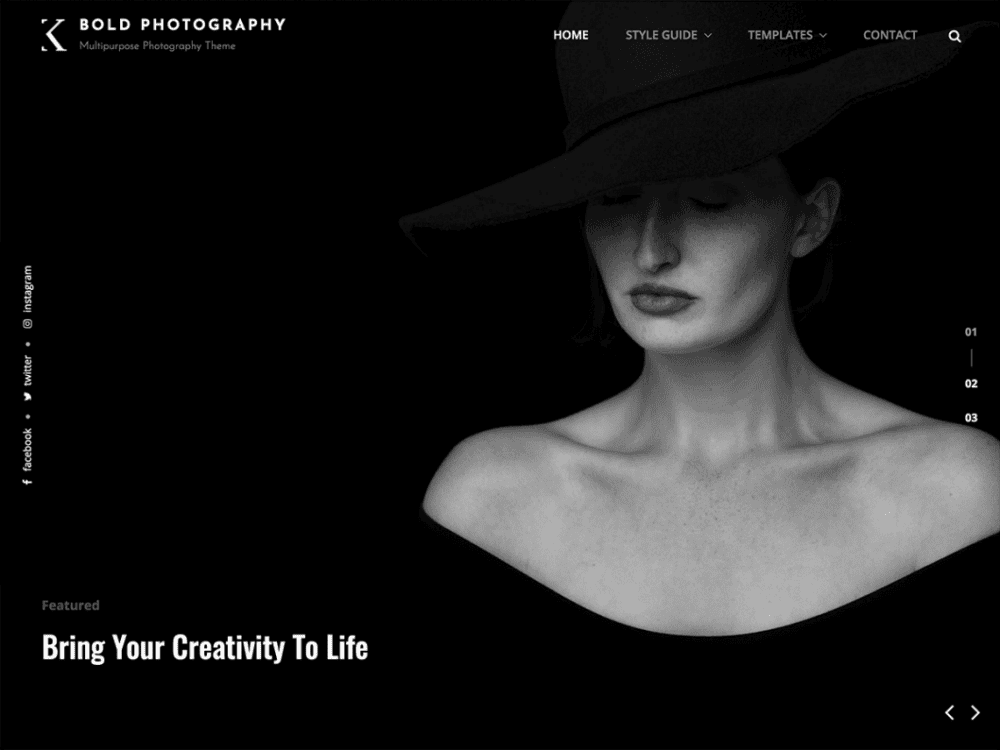 Free Bold Photography WordPress theme