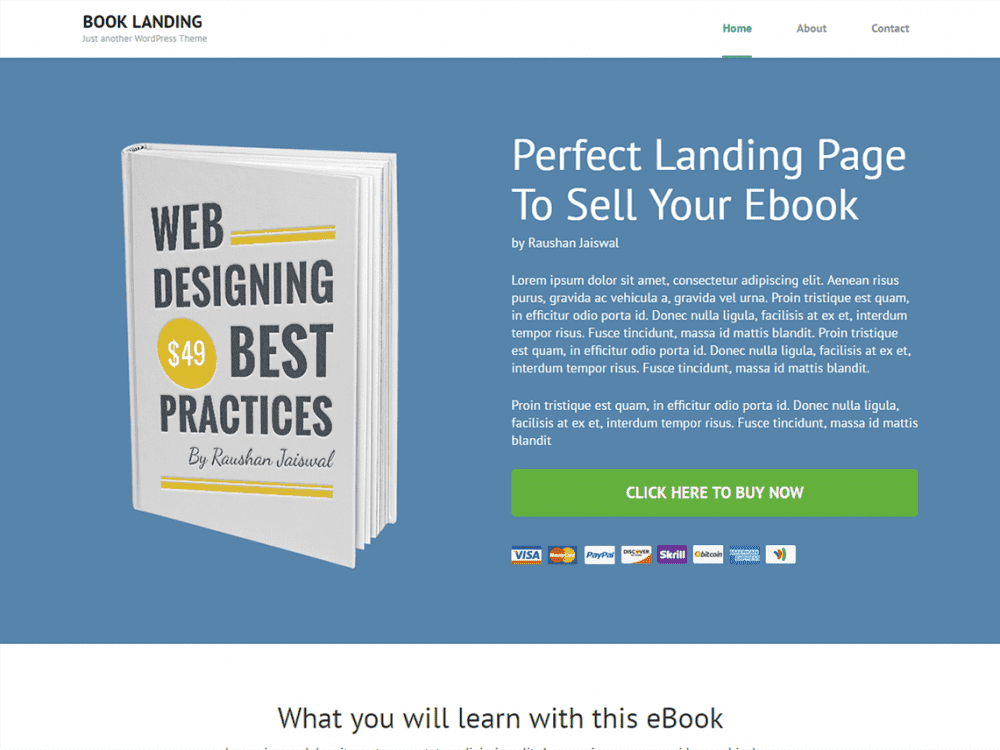 Free Book Landing Page WordPress theme