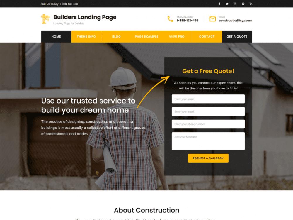 Free Builders Landing Page WordPress theme