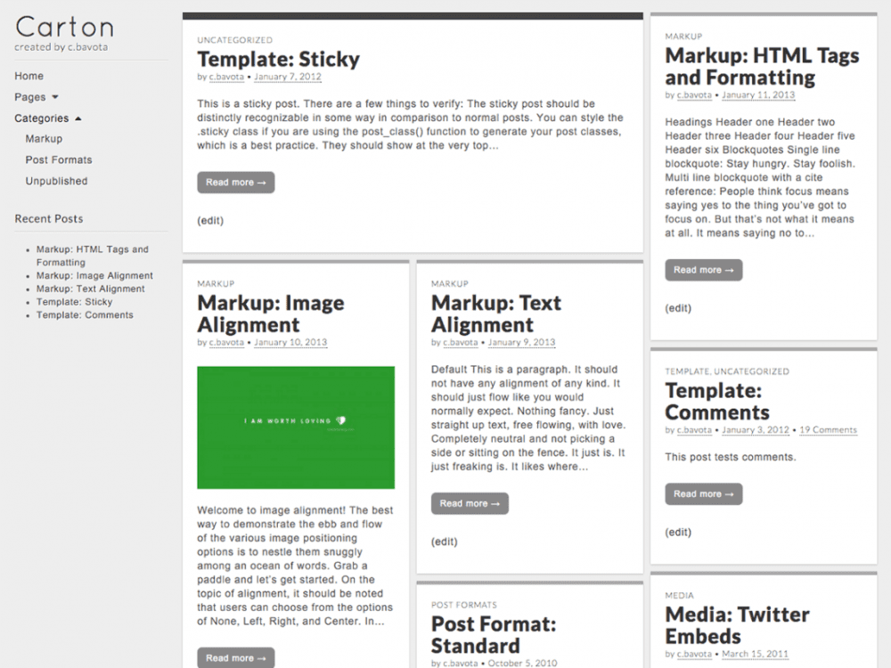 Free Carton WordPress theme