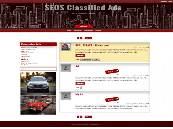 Free Classified Ads WordPress theme