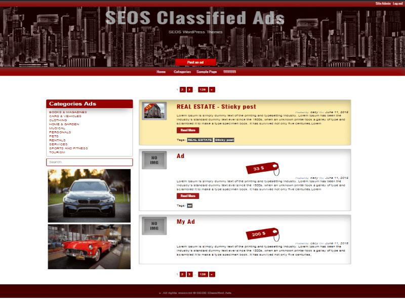 Free Classified Ads WordPress theme