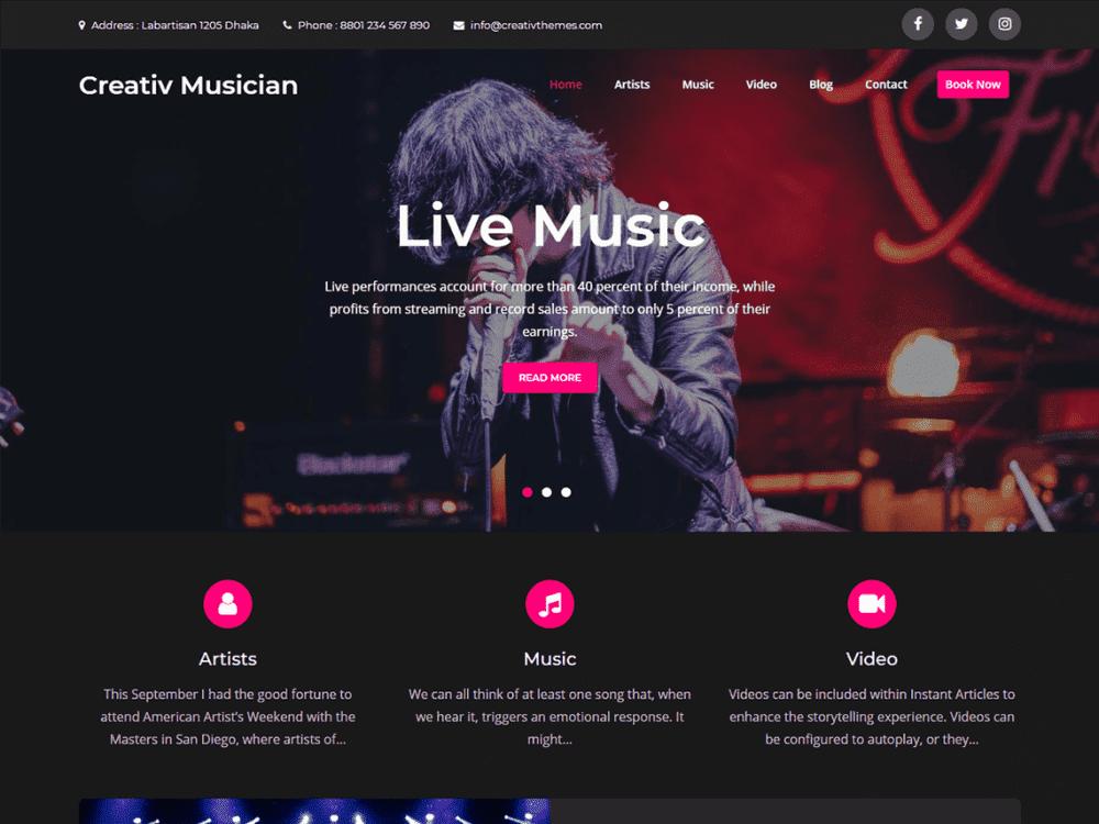Free Creativ Musician WordPress theme