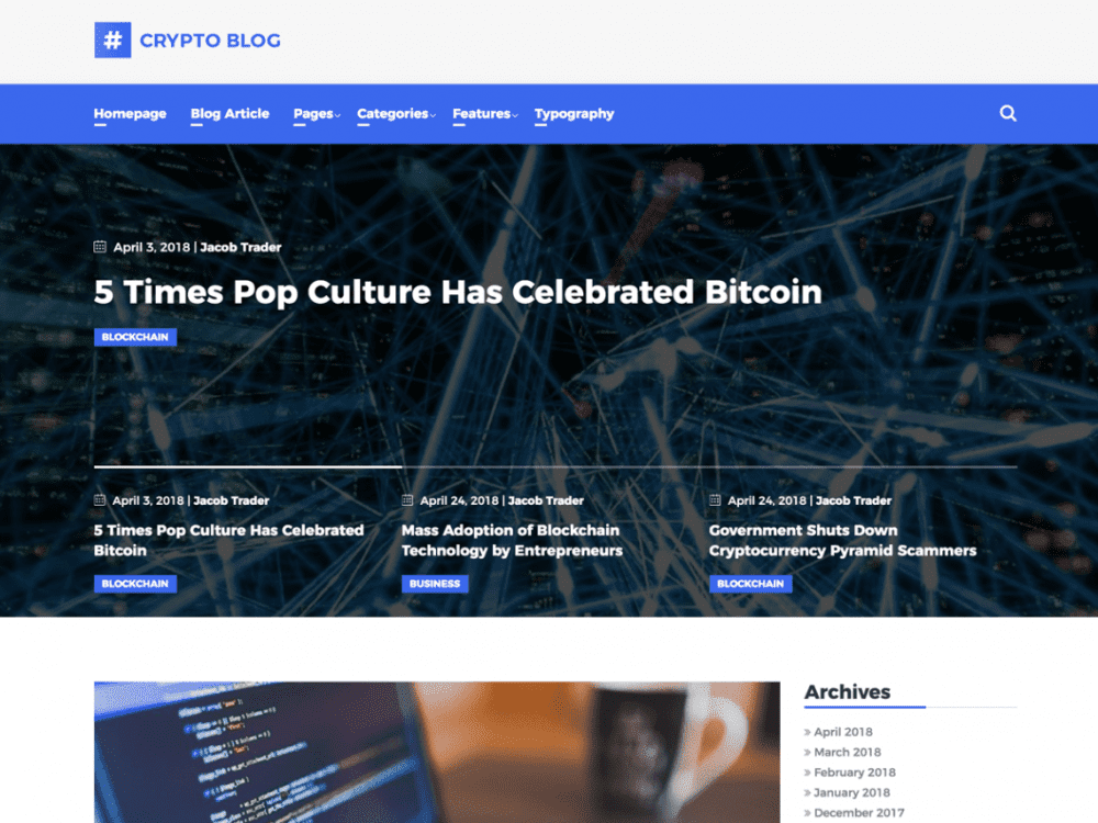 Free CryptoBlog WordPress theme