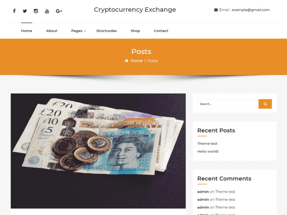 Free Cryptocurrency-exchange WordPress theme