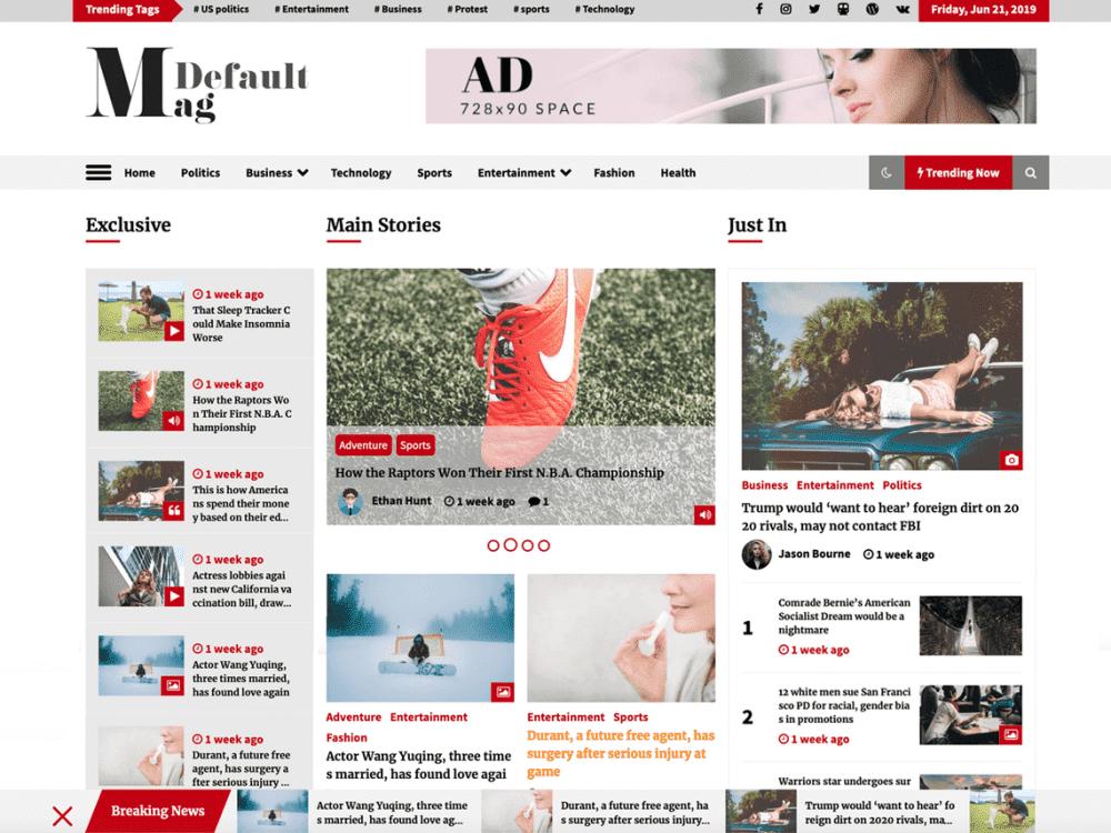 Free Default Mag WordPress theme
