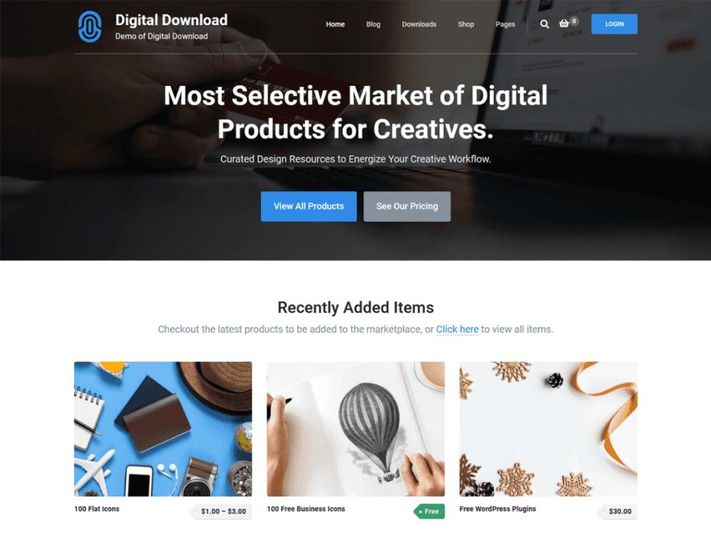 Free Digital Download WordPress theme
