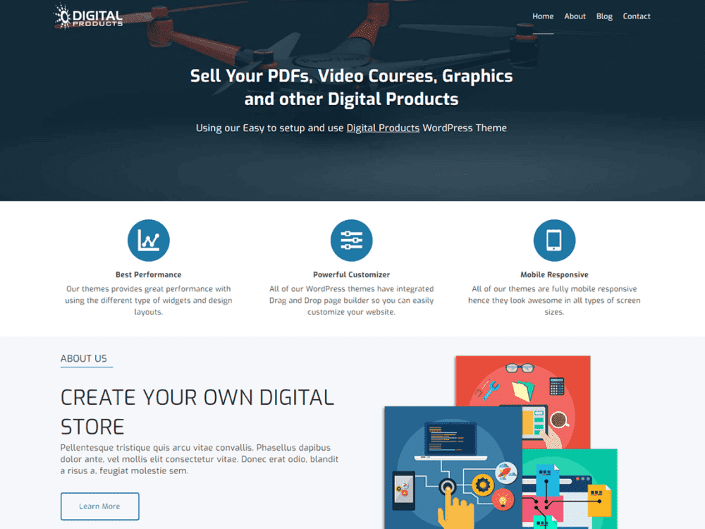 Free Digital Products WordPress theme