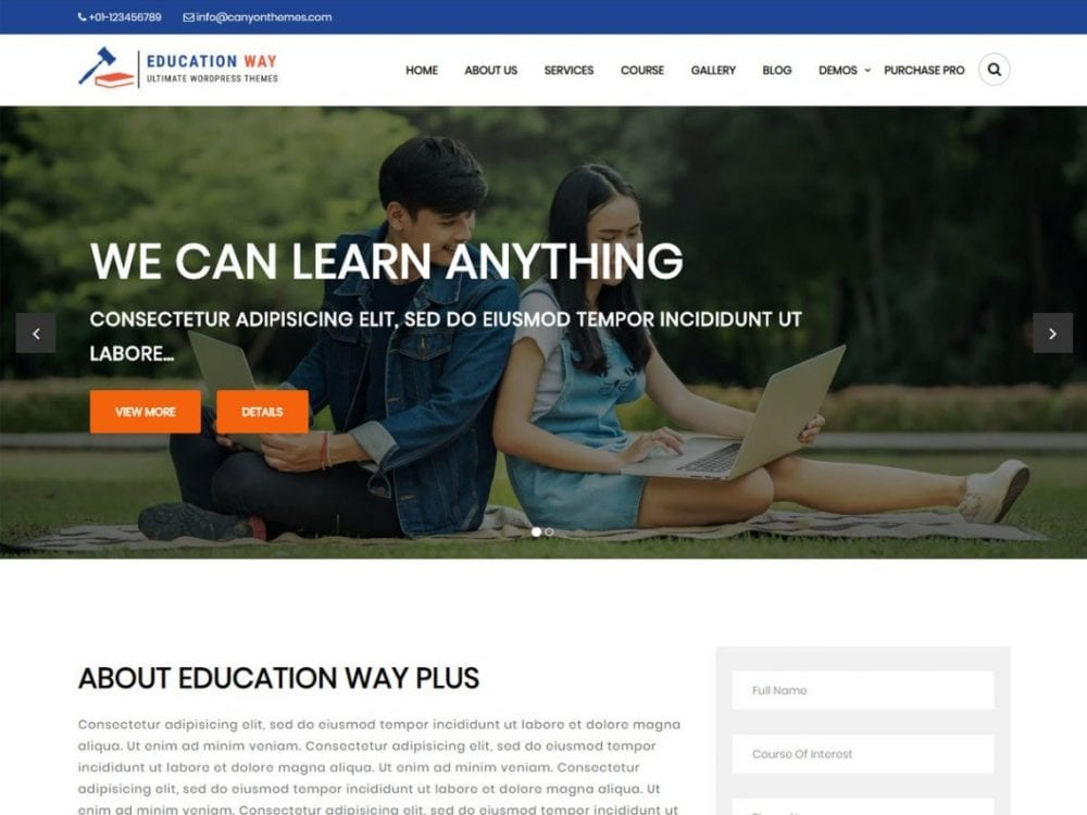 Free Education Way WordPress theme