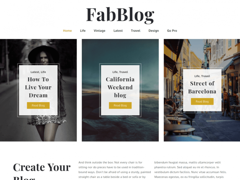 Free FabBlog WordPress theme