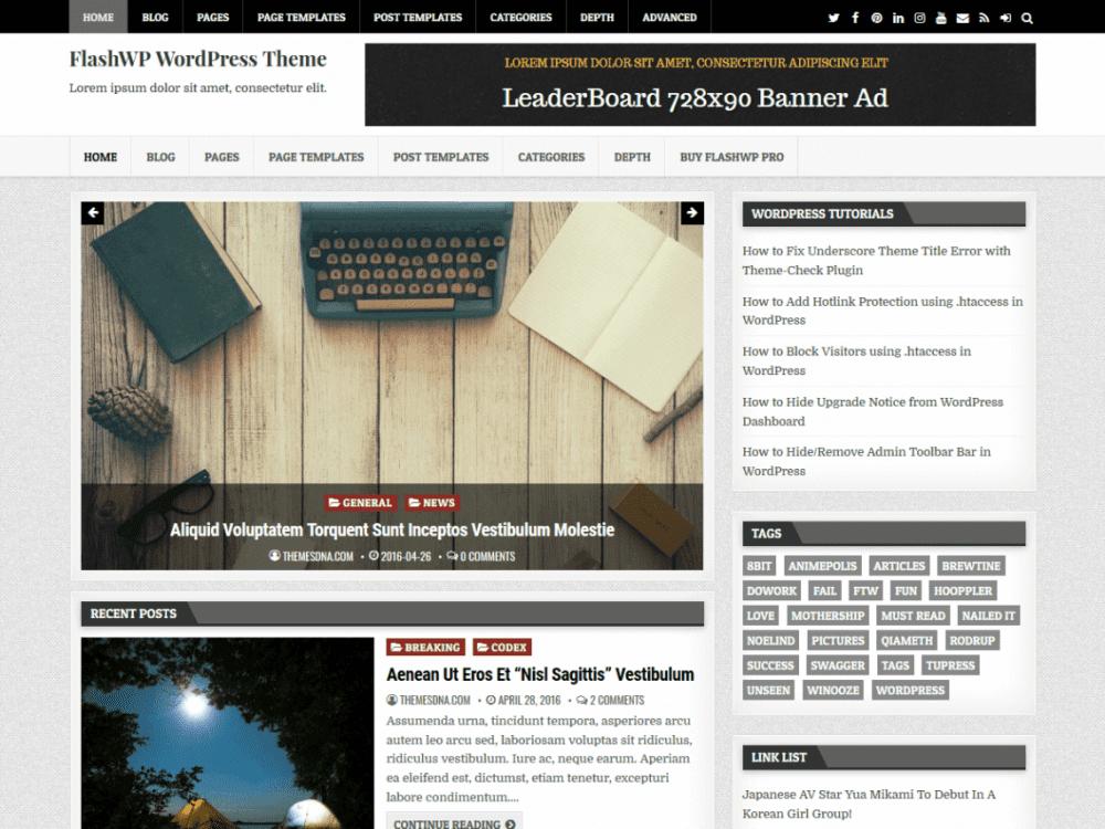 Free FlashWP WordPress theme