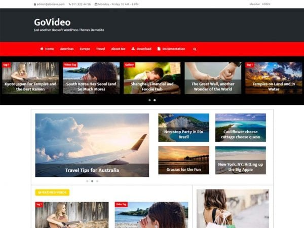 Free GoVideo WordPress theme