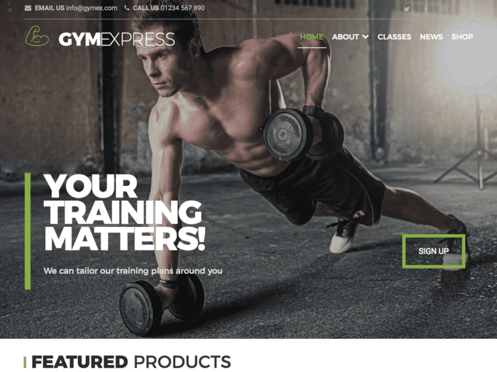 Free Gym Express WordPress theme