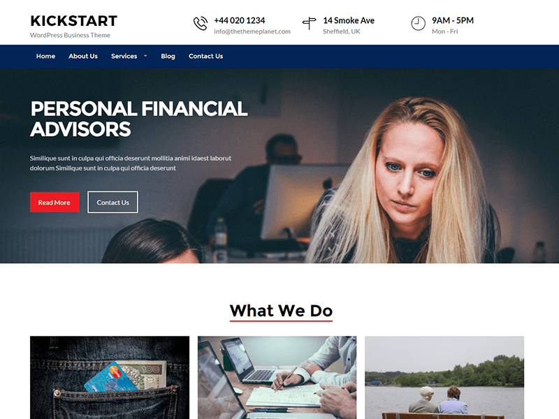 Free Kickstart Business WordPress theme